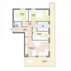 Dorfwiesen Lüsen - Wohnung 6 Skizze